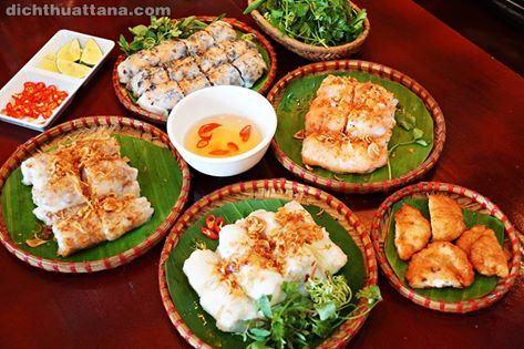 món ăn việt nam, từ vùng tiếng anh về món ăn